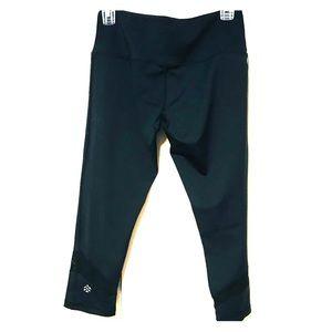 Pants - Black Circuit Crops with Mesh Insert - Medium
